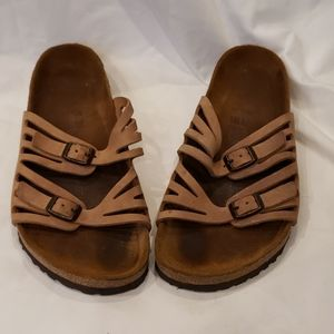BIRKENSTOCKS Tan Leather Granada Style 9 US 39 E